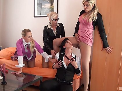Clothed women share the lust for oral sex close to a perfect lesbian orgy