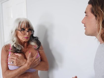 Video of horny granny Sally D'angelo with massive juggs having sex