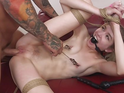 He shoves his cock in her pussy and fucks her petite body sideways