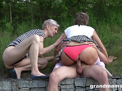 Public amateur sex with two matures and a young cock