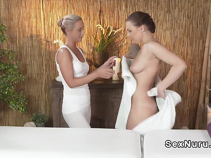 Blonde masseuse complacent and rubbing murky