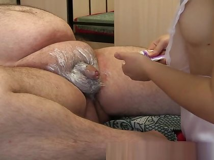 young nurse shaves dick sucks fat old man's dick getting cum prevalent mouth