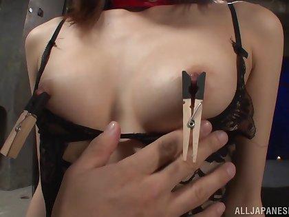 Lingerie clad Asian vixen gets creampied in a sizzling bondage fetish clip