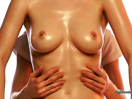 Busty gal receives an erotic massage and the brush masseuse has golden hands