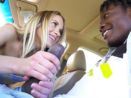 Sex-appeal white passenger Khloe Kapri gives a blowjob in the car