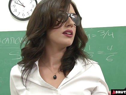 Brutal gangbang for teacher in vestibule