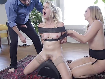 Filial blonde shared in a crazy home XXX fetish play