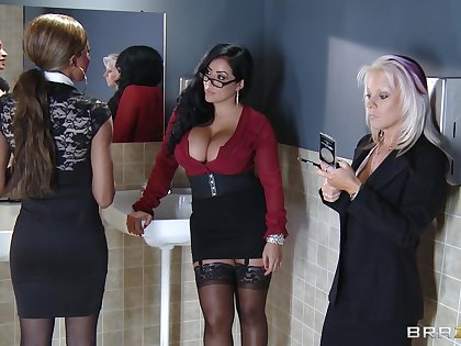 Office coition on the table at hand chubby Kiara Mia round stockings