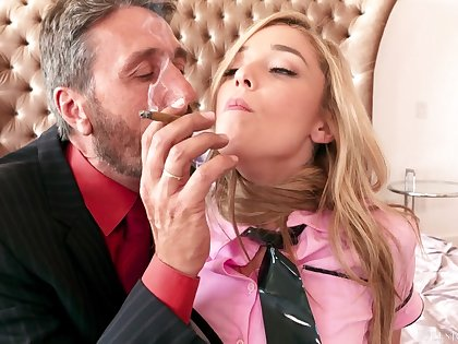 Exciting Blond Kali Roses Fucked In Bed By Older Man