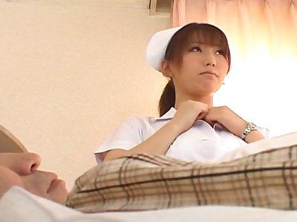 Trimmed pussy Japanese nurse Ai Sayama enjoys riding her patient