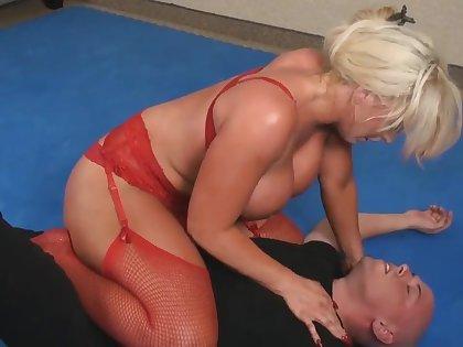 AJ wrestling in Fetish femdom - blonde mom with big fake tits