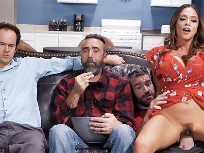 Cheating wife fuck friend near husband